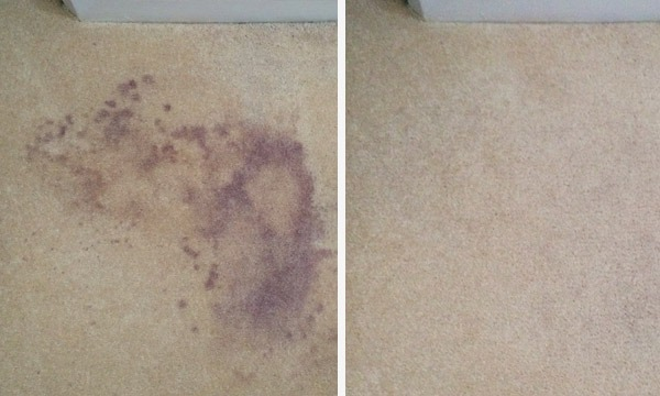Red wine stain before and after